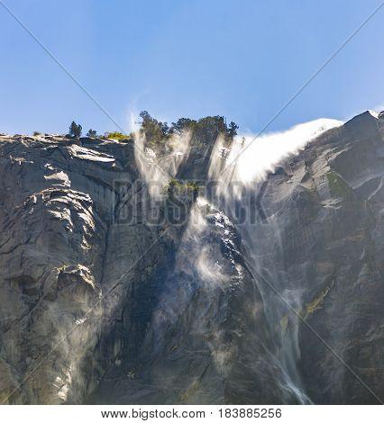 Waterfall Bridal Veil In The Yosemite National Park