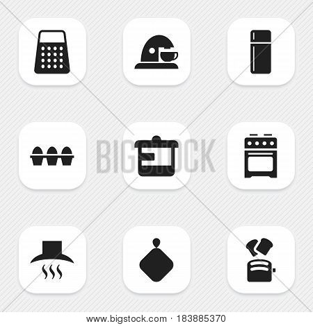 Set Of 9 Editable Meal Icons. Includes Symbols Such As Cup, Slice Bread, Stove And More. Can Be Used For Web, Mobile, UI And Infographic Design.