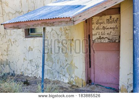old abandonned supermarket building in Death valley junction an old Borax Mining spot