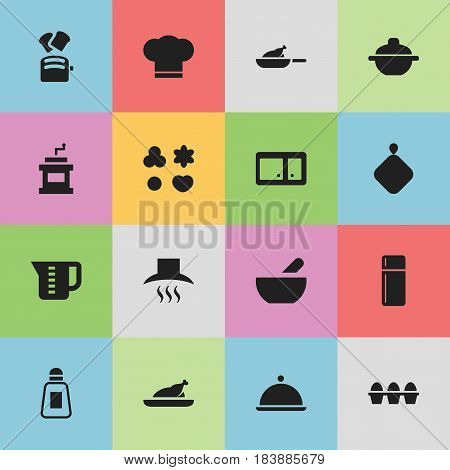 Set Of 16 Editable Food Icons. Includes Symbols Such As Kitchen Hood, Salver, Pot-Holder And More. Can Be Used For Web, Mobile, UI And Infographic Design.