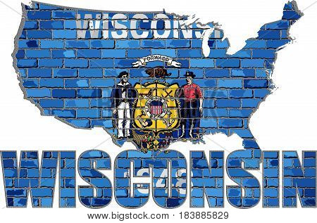 Wisconsin on a brick wall with effect - 3D Illustration