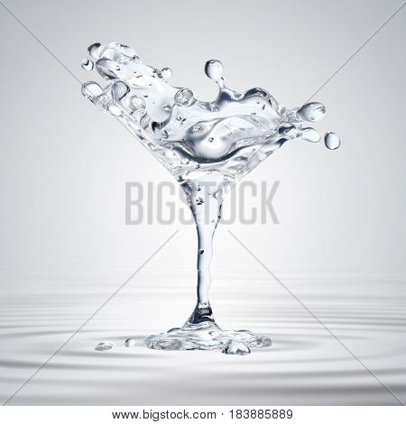 3D rendering of the martini glass with water drops. Water background