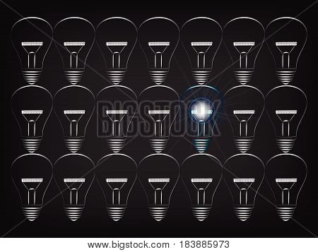 Group Of Gray Lightbulbs Turned Off With Only One Shining Blue One With Light Flare