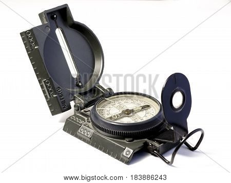 open navigational compass over a white background