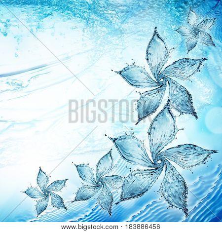 flower made of water splash. 3d rendering