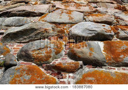 the tethe texture of the stone masonry fortresses in the North of Russiaxture of the stone masonry fortresses in the North of Russia