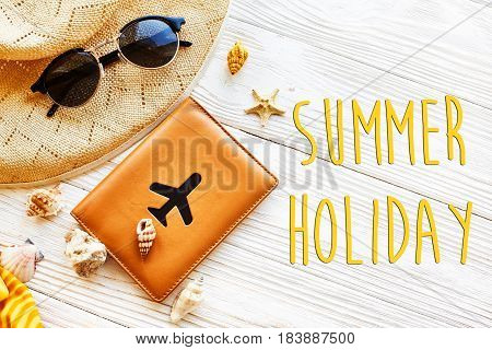 Summer Holiday Text, Vacation Concept Flat Lay. Yellow Hat, Sunglasses And Shells And Passport With