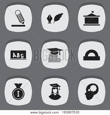 Set Of 9 Editable Graduation Icons. Includes Symbols Such As Education, School Board, Univercity And More. Can Be Used For Web, Mobile, UI And Infographic Design.
