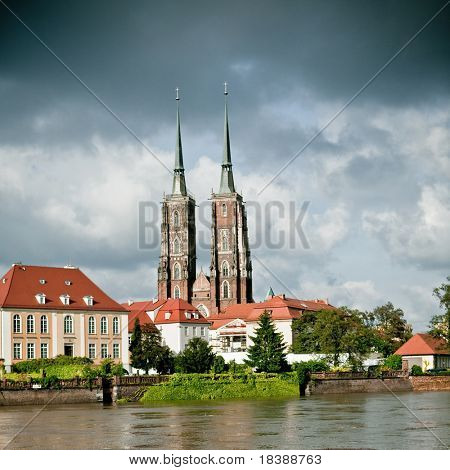 Twin towers of the cathedral in Wroclaw, Poland, on an island in the Labe river