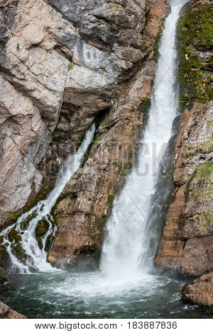high waterfall Slavica in Slovenia Julian Alps