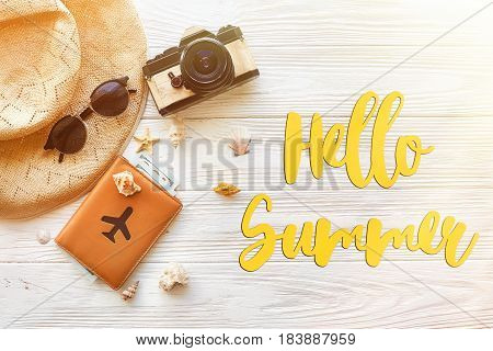 Hello Summer Text, Travel Vacation Concept Flat Lay, Space For Text. Photo Camera Passport  Money Pl