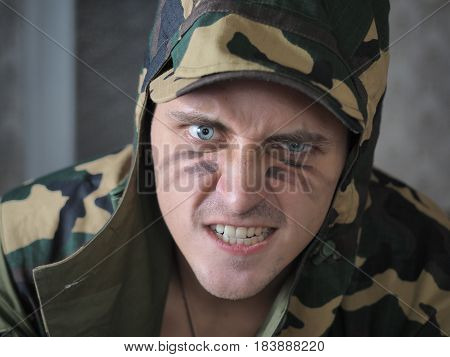 Shot of a conceptual soldier painted in khaki colors. S