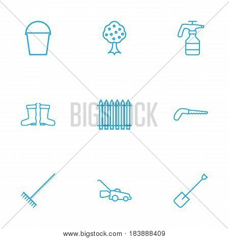 Set Of 9 Household Outline Icons Set.Collection Of Waterproof Shoes, Atomizer, Arm-Cutter And Other Elements.