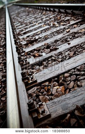 Railroad tracks to nowhere close-up