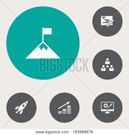 Set Of 6 Strategy Icons Set.Collection Of Repair Service, Money Growth, Unity And Other Elements.