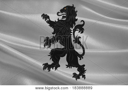 Flag of Forbach is a commune in the department of Moselle in the northeastern French Region of Grand Est. 3D illustration