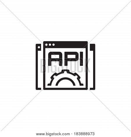 Settings API Icon. Business and Marketing. Isolated Illustration. Web Pages with text API and Gear in front.