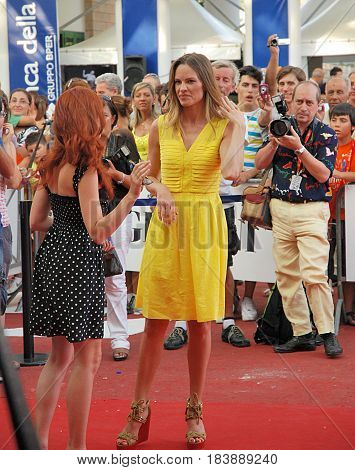 Giffoni Valle Piana Sa Italy - July 14 2011 : Hilary Swank at Giffoni Film Festival 2011 - on July 14 2011 in Giffoni Valle Piana Italy