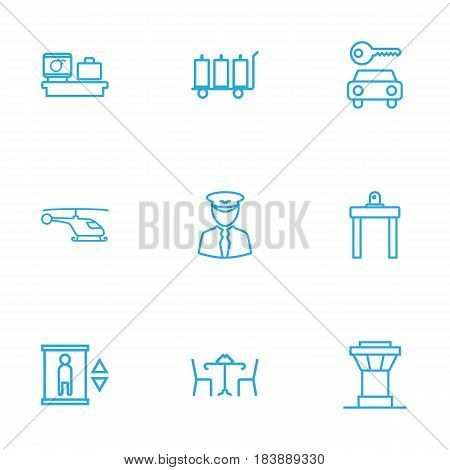 Set Of 9 Airplane Outline Icons Set.Collection Of Luggage Trolley, Car Rent, Control Tower And Other Elements.