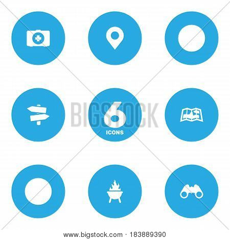 Set Of 6 Outdoor Icons Set.Collection Of First Aid Box, Optical Zoom, Signpost And Other Elements.