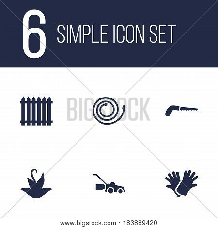 Set Of 6 Horticulture Icons Set.Collection Of Plant, Latex, Garden Hose And Other Elements.