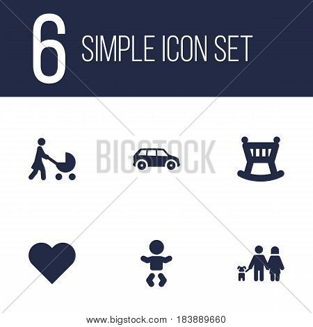Set Of 6 People Icons Set.Collection Of Cot, Perambulator, Kid And Other Elements.