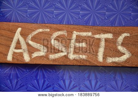 word asssets on  a  abstract colorful background