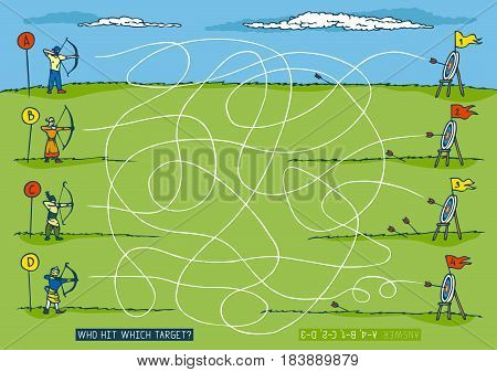Archery Sport Competition Maze Game. Hand Drawn Illustration