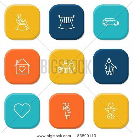 Set Of 9 Family Outline Icons Set.Collection Of Lovers, Baby, Car And Other Elements.