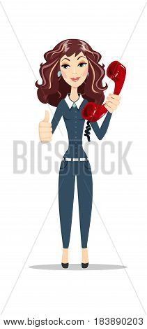 Bored tired beautiful curly young woman with bright makeup in retro style with red telephone receiver over white background. Stock flat vector illustration.