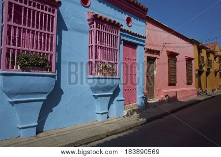 Historic Spanish colonial style house in the UNESCO World Heritage Site of Cartagena de Indias in Colombia