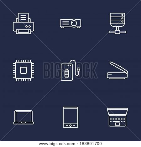 Set Of 9 Notebook Outline Icons Set.Collection Of Laptop, Cpu, Notebook And Other Elements.