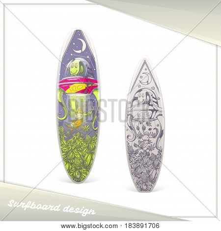 Design of surfboard with the image of extraterrestrial guest stealing marijuana. Dark and light on a white background.
