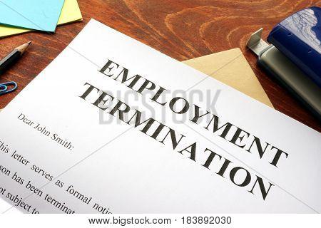 A Emploinment termination letter. Unfair dismissal concept.