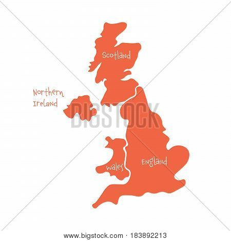 United Kingdom, aka UK, of Great Britain and Northern Ireland hand-drawn blank map. Divided to four countries - England, Wales, Scotland and NI. Simple flat vector illustration.