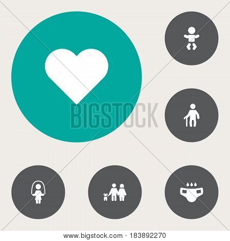 Set Of 6 Relatives Icons Set.Collection Of Girl, Grandpa, Heart Elements.