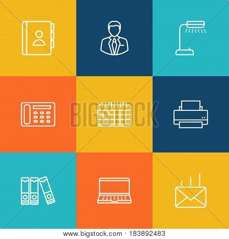 Set Of 9 Bureau Outline Icons Set.Collection Of Administrator, Date, Printing Machine And Other Elements.