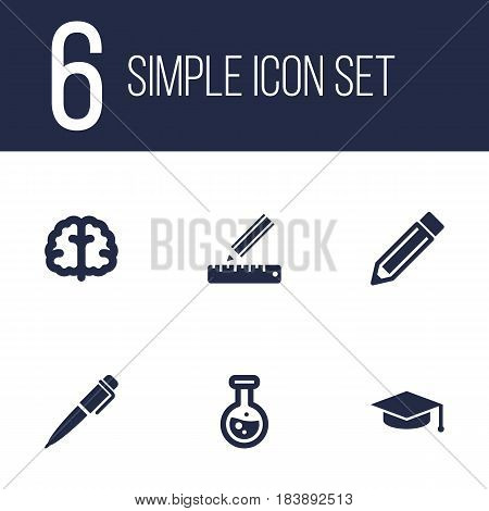 Set Of 6 Education Icons Set.Collection Of Academic Hat, Drawing Tool, Marrow And Other Elements.
