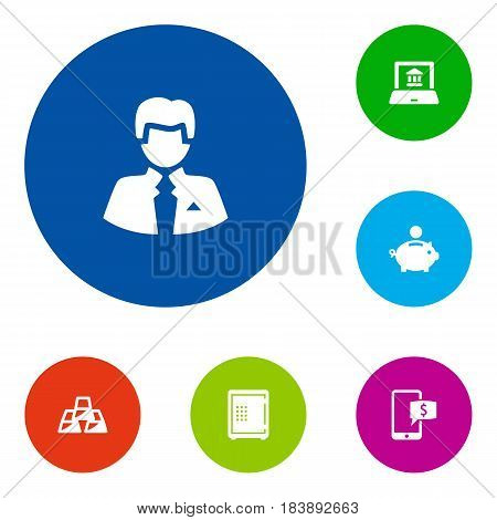 Set Of 6 Sponsor Icons Set.Collection Of Worker, Online Banking, Electron Report And Other Elements.