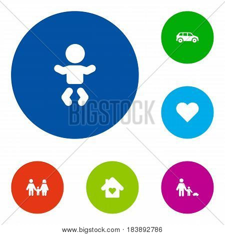 Set Of 6 People Icons Set.Collection Of Heart, Father With Son, House And Other Elements.