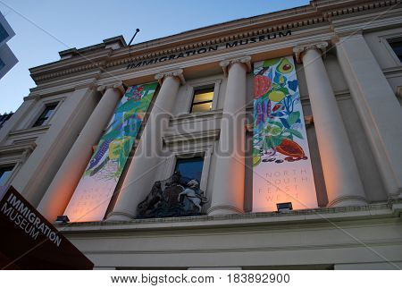 MELBOURNE, AUSTRALIA - MARCH 20, 2016: Immigration Museum located on Flinders Street in Melbourne, Victoria, in the Old Customs House is displaying Australia's immigration history
