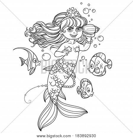 Cute Little Mermaid Girl Floats In Water And Listens Shell Outli