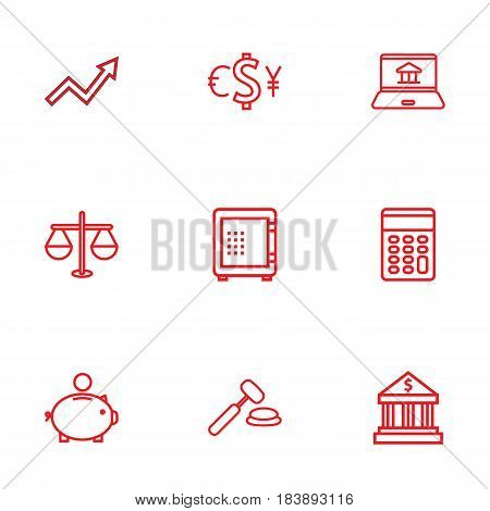 Set Of 9 Sponsor Outline Icons Set.Collection Of Bank, Money Box, Auction And Other Elements.