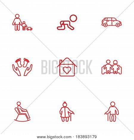 Set Of 9 People Outline Icons Set.Collection Of Crawling Kid, Car, Man In Armchair And Other Elements.