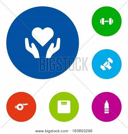 Set Of 6 Training Icons Set.Collection Of Blower, Barbell, Heart In Hand Elements.