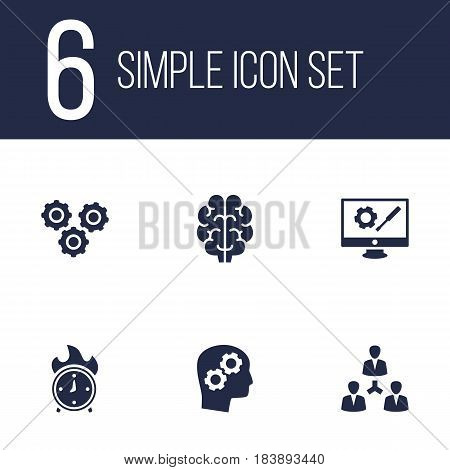 Set Of 6 Strategy Icons Set.Collection Of Time In Fire, Gear, Repair Service And Other Elements.
