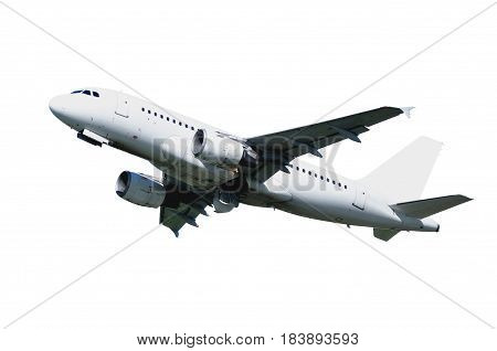Airplane. Airplane isolated on white background. Travel background with flying isolated airplane. Flying airplane isolated on white. Closeup of flying airplane with blank livery isolated on white.