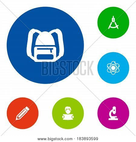 Set Of 6 Science Icons Set.Collection Of Drawing Tool, Rucksack, Molecule And Other Elements.
