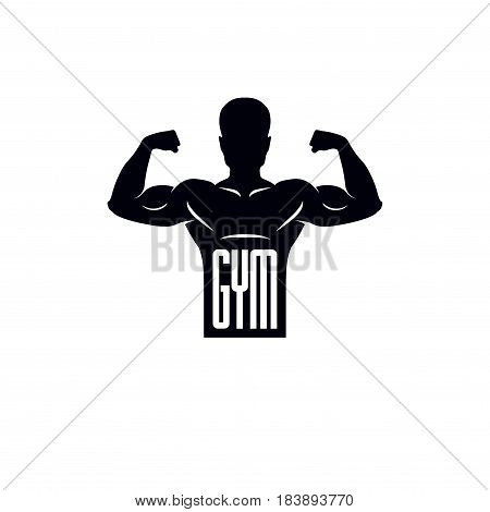 Logotype for heavyweight gym or fitness sport gymnasium retro style vector emblem. With bodybuilder silhouette.