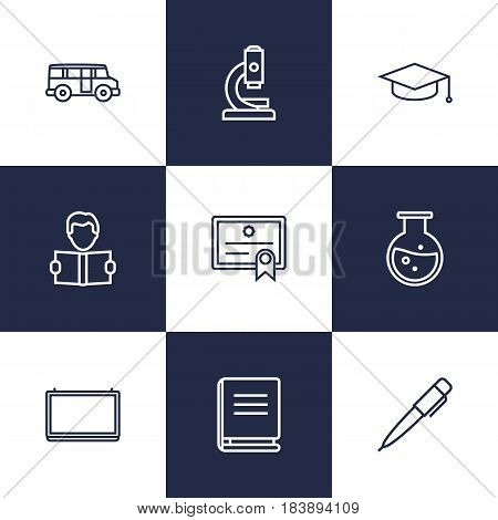Set Of 9 Science Outline Icons Set.Collection Of Diploma, Encyclopedia, Bus And Other Elements.